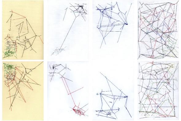 Hilos de la frontera: lado A, lado B. Linha e papel. Estudos de Estrutura, deslocamentos, trajetórias da peça A Tryple Frontera. 2017.